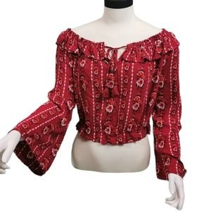 Divided Floral Boho Bell Sleeve Crop Ruffle Top 10